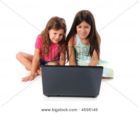 Girls Using A Laptop