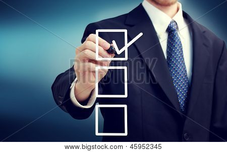 Business Man With Checkboxes