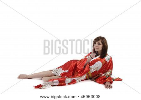 French Young Girl Geisha In Red Silk Kimono