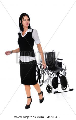 Woman Walking Away From Wheelchair