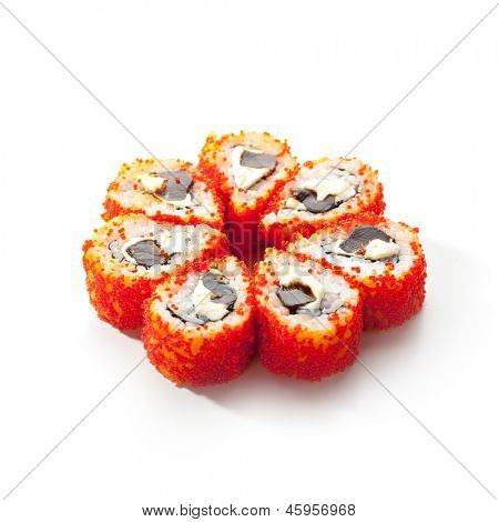 Maki Sushi - Sushi Roll with Mushrooms Shiteke and Cream Cheese inside. Tobiko outside