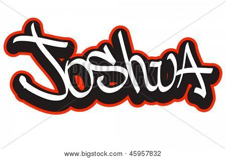 Joshua graffiti font style name. Hip-hop design template for t-shirt, sticker or badge