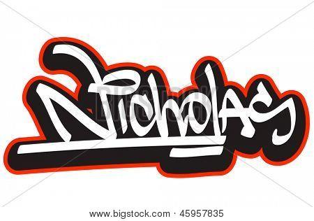 Nicholas Graffiti Font Style Name Hip Hop Design Template