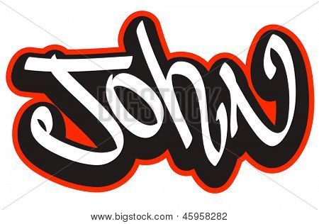 John graffiti font style name. Hip-hop design template for t-shirt, sticker or badge