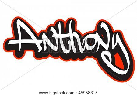 Anthony Graffiti Font Style Name Hip Hop Design Template