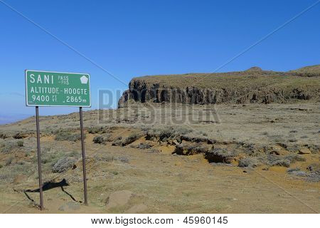 Sign At The Sani Pass Between South Africa And Kingdom Of Lesotho