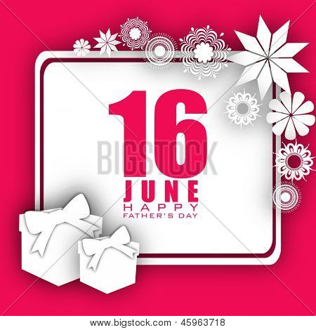 Happy Fathers Day concept with text 16 June decorated with flowers and gift boxes on pink background.