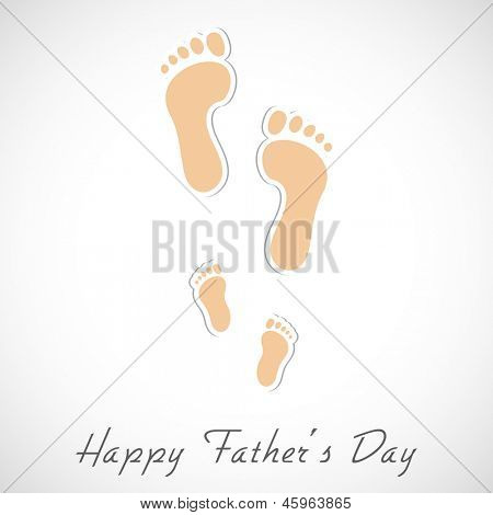 Foot prints of a father and child, Creative concept for Happy Fathers Day.