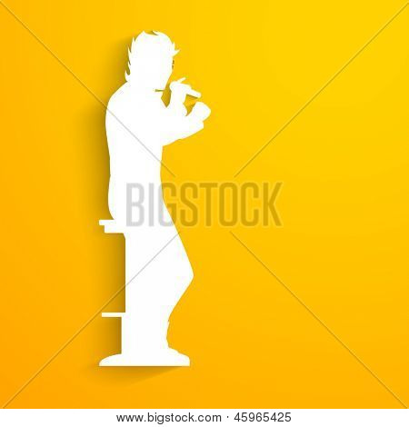 Music concept with white silhouette of a singer singing into microphone on yellow background.