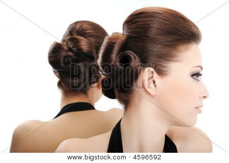 Profile View Of Beauty Curly Hairstyle