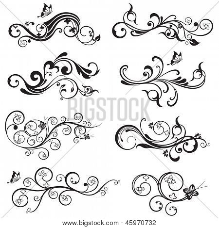 Beautiful flower and butterfly silhouettes design collection. This image is a vector illustration.