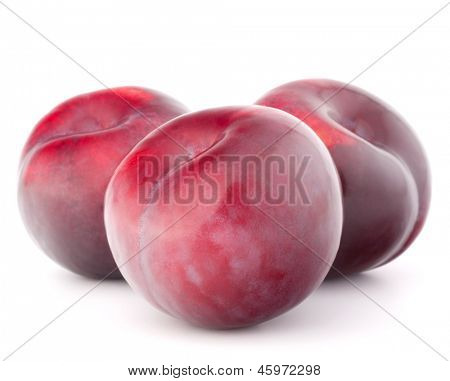 Ripe plum  fruit isolated on white background cutout