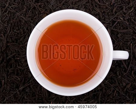 Cup Of Tea, Tea Leaves As Background.