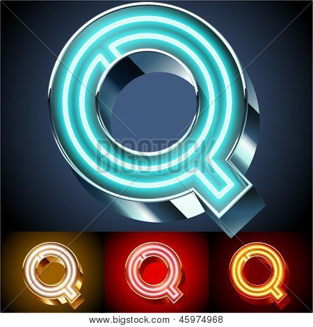 Vector illustration of realistic neon tube alphabet for light board. Gold and Silver and Red options. Letter Q
