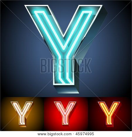 Vector illustration of realistic neon tube alphabet for light board. Gold and Silver and Red options. Letter Y