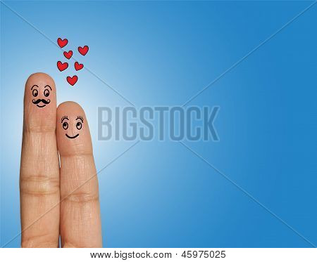 Happy Couple, Man With Mustache And Woman Looking At Each Other  In Love - Concept Illustration Usin