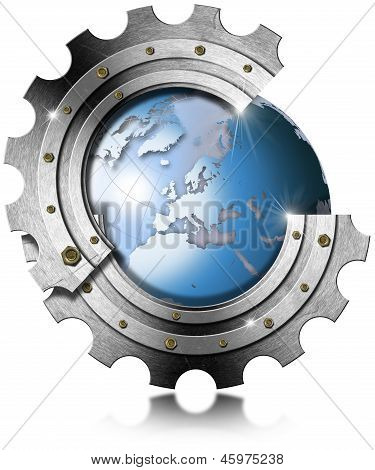 Blue Earth Globe Inside Big Metal Gear