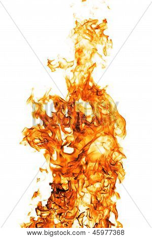 Fire Flame Isolated On White Backgound