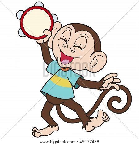 Cartoon Monkey Playing A Tambourine