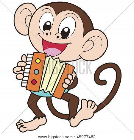 Vectores y fotos en stock de Dibujos animados mono jugando un ...