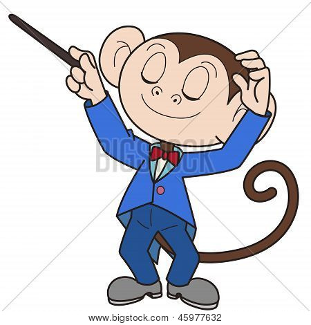 Conductor de dibujos animados mono música
