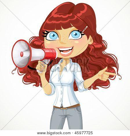Cute girl  talking into a megaphone