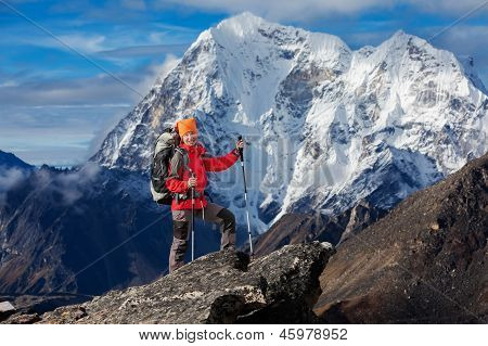 Hiking In Khumbu Walley In Himalayas Mountains