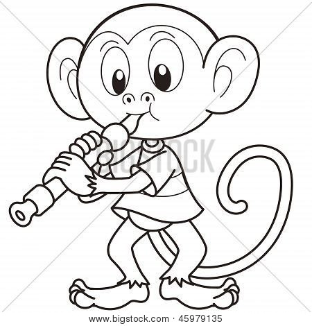 Cartoon Monkey Playing An Oboe