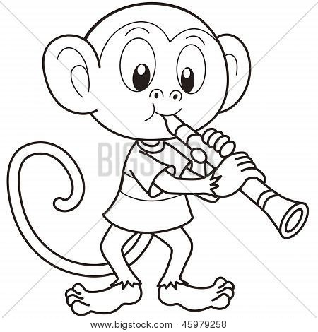 Cartoon Monkey Playing A Clarinet