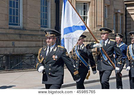 Russian Seamen Marching Through Liverpool