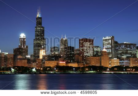 Chicago Skyline in de nacht