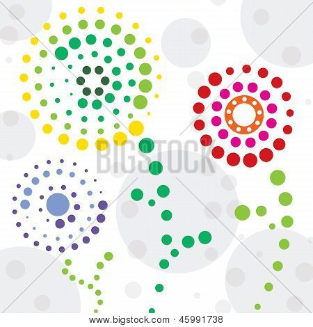 Abstract Circled Flowers