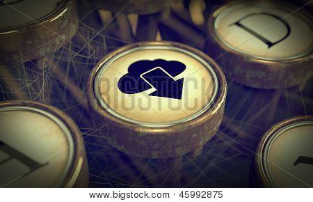 Cloud Typewriter Key. Grunge Background.
