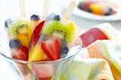 stock photo of popsicle  - Fruity popsicle sticks - JPG
