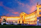 image of palace  - Vienna Hofburg Imperial Palace at night  - JPG