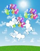 stock photo of triplets  - white silhouettes of newborn triplets flying on colorful balloons on a blue sky background - JPG