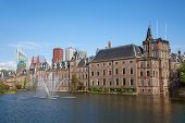 stock photo of minister  - Famous parliament and court building complex Binnenhof in Hague - JPG
