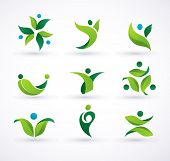 image of water bird  - Vector green ecology people icons and symbols - JPG