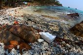 foto of polution  - Coast of tropical sea poluted with plastic - JPG