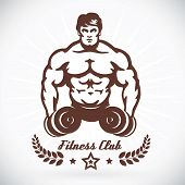 foto of muscle builder  - Vector Bodybuilder Fitness Model Illustration With Brown Sticker - JPG