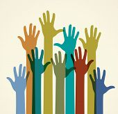 stock photo of crowd  - Colorful raised hands - JPG