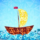 Abstract triangles pattern vector simple boat