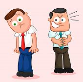 stock photo of sneaky  - Two cartoon businessmen with one looking unhappy and the other sneaky - JPG