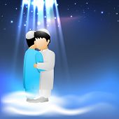 Holy festival Eid celebration background with two Muslim boys in traditional clothes hugging  and wi