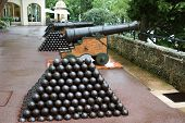 picture of cannon-ball  - Cannon and cannon balls near Royal Palace in Monaco - JPG
