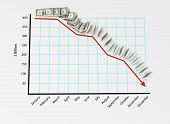 Financial Graph with Dollars Falling like Dominoes - viewed from above