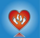pic of libido  - Love Sex Illustration with Red Heart and Sex Symbol using legs with blue gradient background - JPG