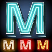 picture of letter m  - Vector illustration of realistic neon tube alphabet for light board - JPG