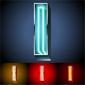 Vector illustration of realistic neon tube alphabet for light board. Gold and Silver and Red options