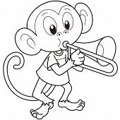 Cartoon Monkey Playing A Trombone